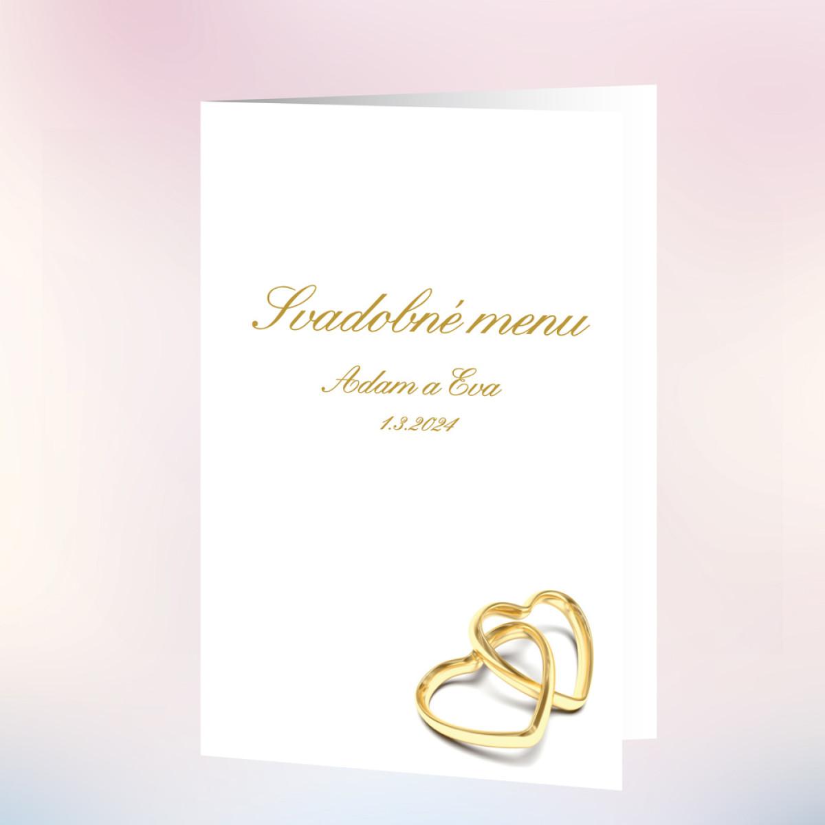 2073d9c1891f Svadobné menu ZLATÁ SRDCE - Zlaté dekorace - Zlatá svatba