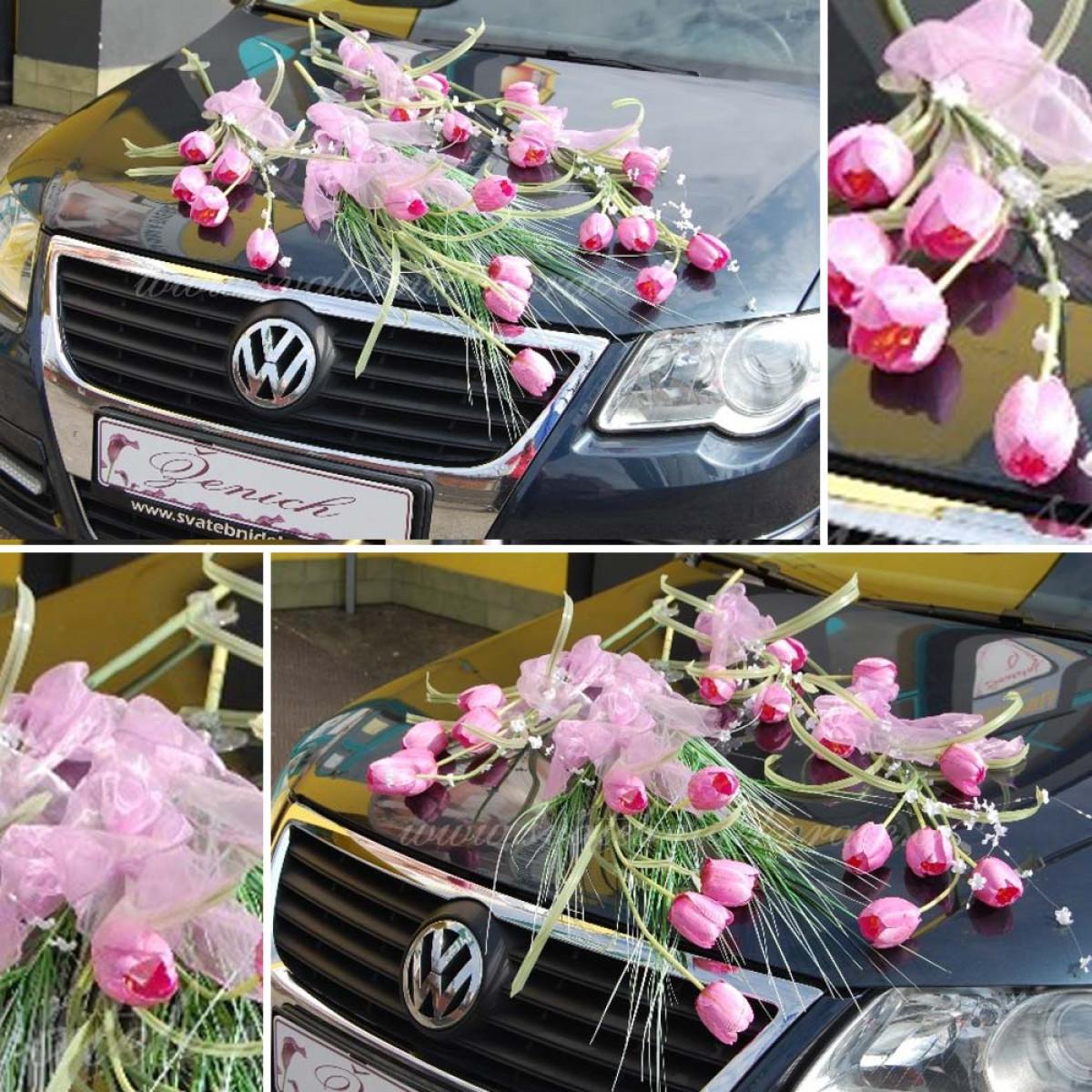 Pronajem Dekorace Na Auto Tulipan 1 Set Ruzova Svatebni