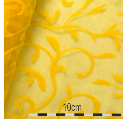 6699ee5cbb07 Organzový pás s ornamentem LADA 35 cm - tmavě žlutá (9 m rol)